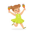 Sweet little girl playing maracas, young musician with toy musical instrument, musical education for kids cartoon vector