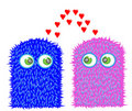 Sweet little monsters in love Stock Photography