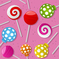 Sweet lollipop seamless pattern a with colorful on pink background useful also as design element for texture or gift Royalty Free Stock Photo