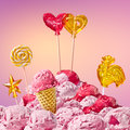 Sweet magical landscape with candy heart Royalty Free Stock Photo