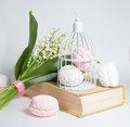 Sweet marshmallows and lilies of the valley on a white background Stock Image