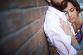 Sweet moment portrait of affectionate female leaning onto her sweetheart Royalty Free Stock Photo
