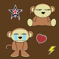 Sweet monkey cartoon expressions set angry in vector format in vector format Royalty Free Stock Images
