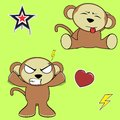 Sweet monkey cartoon expressions set angry in vector format in vector format Stock Image