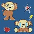 Sweet monkey cartoon expressions set crying in vector format in vector format Royalty Free Stock Photo