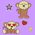 Sweet monkey cartoon expressions set inlove in vector format in vector format Stock Photos