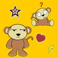 Sweet monkey cartoon expressions set in vector format in vector format Royalty Free Stock Image