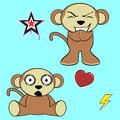 Sweet monkey cartoon expressions set in vector format in vector format Stock Photo