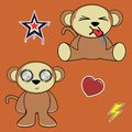 Sweet monkey cartoon expressions set in vector format in vector format Stock Photos