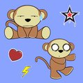 Sweet monkey cartoon expressions set in vector format in vector format Stock Images