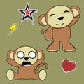 Sweet monkey cartoon expressions set in vector format in vector format Royalty Free Stock Photography