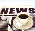 Sweet morning coffee reading news instant Royalty Free Stock Photo