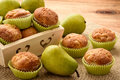 Sweet muffins with pears, ginger and cinnamon. Royalty Free Stock Photo