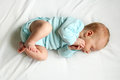 Sweet Newborn Baby Sleeping on White Bed Royalty Free Stock Photo