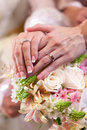 Sweet newly wed holding hands Royalty Free Stock Images