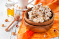 Sweet nougat on the wooden table selective focus Royalty Free Stock Images