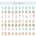 Sweet numbers set in pastel blue. Different textures - ice cream, chocolate, biscuit, lollipop. Royalty Free Stock Photo