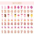 Sweet numbers set in pastel pink. Different textures - ice cream, chocolate, biscuit, lollipop. Royalty Free Stock Photo