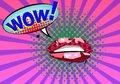 Sweet Pair of Glossy Vector Lips. Open wet red lips with teeth retrò art style poster, Expression text WOW. Vector i