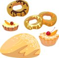 Sweet pastry set of different kinds of Stock Images