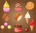 Sweet pastry set vector gradient eps Royalty Free Stock Photography