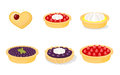 Sweet pastry vector images of six different pies and tarts Royalty Free Stock Image