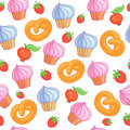Sweet pattern cakes on white background. Seamless.