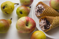 Sweet pears and waffers Royalty Free Stock Photo