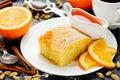 Sweet pie Basbousa (Namoora) with orange cardamom coconut semolina Royalty Free Stock Photo
