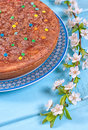Sweet pie from semolina decorated with chocolate and color decorations Stock Image