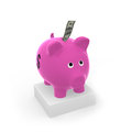 Sweet piggy bank with bank note dollar Royalty Free Stock Photography