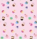 Sweet pink cupcake seamless pattern