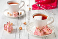 Sweet pink nougat with strawberry and nut selective focus Stock Photography
