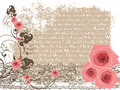 Sweet pink roses and vintage poem Stock Photos