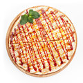 Sweet pizza italian with caramel on a white background Stock Photos
