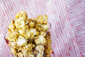Sweet popcorn in glass Stock Images