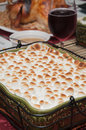 Sweet potato casserole with turkey wine and all the fixings Stock Photo