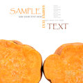 Sweet potato sliced and space for your text on the white background Stock Photos