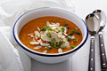 Sweet potato and squash soup with chicken butternut Stock Photo