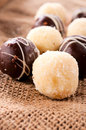 Sweet pralines homemade in line Stock Photo