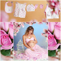 Sweet pregnancy collage of pictures of pregnant women Stock Photo