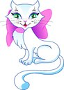 The sweet pussy cat with a bow white pink Stock Images