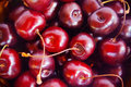 Sweet red cherry close-up. Selective focus Royalty Free Stock Photo