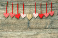 Sweet red hearts on wooden background. Valentines Day Royalty Free Stock Photo