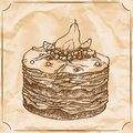Sweet retro cake with pear and berries. Treat for the birthday. Vector hand drawn illustration.