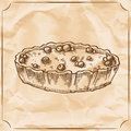 Sweet retro pie with berries. Treat for the birthday. Vector hand drawn illustration.