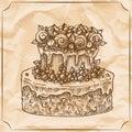 Sweet retro two-level delicious wedding cake. Vector hand drawn illustration.