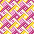 First Wrhombus Sweet Yellow Pink Complicated Rhombus Webbing Oblique Seamless Pattern Royalty Free Stock Photo
