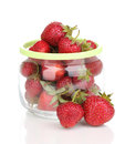 Sweet ripe strawberries in jar Royalty Free Stock Photo