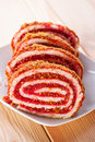 Sweet roll sliced ​​into pieces Royalty Free Stock Image